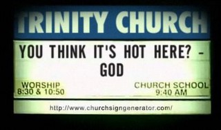 Churchsign-think it's hot